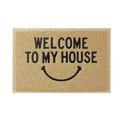 Customized welcome smile face home pvc coil joint door mat