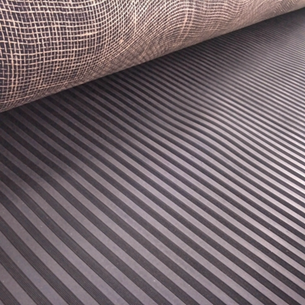 Durable wide ribbed rubber safety mats with nylon mesh fabric