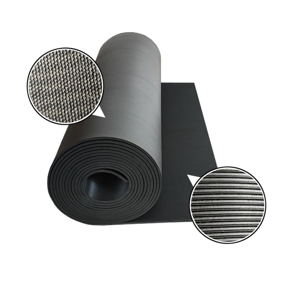 Factory direct sale black pinstripe rubber sheet mat non-slip and waterproof